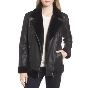 New! Trouve • Leather Moto Shearling Jacket